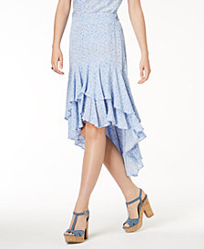 One Hart Juniors' Printed Ruffle High-Low Skirt, Created for Macy's