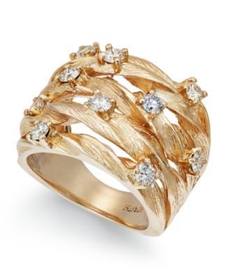 D'Oro by EFFY® Diamond Woven Ring (1 ct. t.w.) in 14k White, Yellow, or Rose Gold