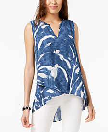 Alfani Printed High-Low Crossover Top, Created for Macy's
