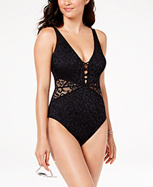 Profile by Gottex Crochet Plunging D-Cup Tummy-Control One-Piece Swimsuit