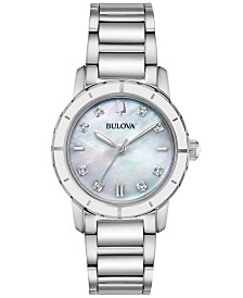 Bulova Women's Diamond-Accent Stainless Steel Bracelet Watch 30mm, Created for Macy's