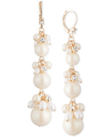 Carolee Gold-Tone Imitation Pearl Cluster Triple Drop Earrings