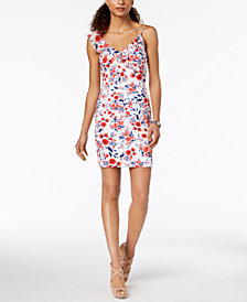 GUESS Asymmetrical Floral Bodycon Dress