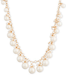 "Carolee Gold-Tone Crystal & Imitation Pearl 16"" Collar Necklace"