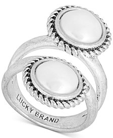 Lucky Brand Silver-Tone Imitation Pearl Double-Row Ring