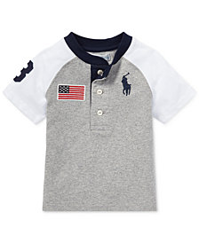 Ralph Lauren Short-Sleeve Cotton Henley Shirt, Baby Boys
