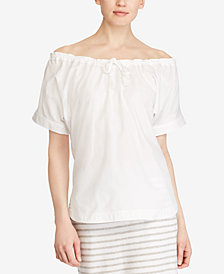 Lauren Ralph Lauren Petite Off-The-Shoulder Cotton Top