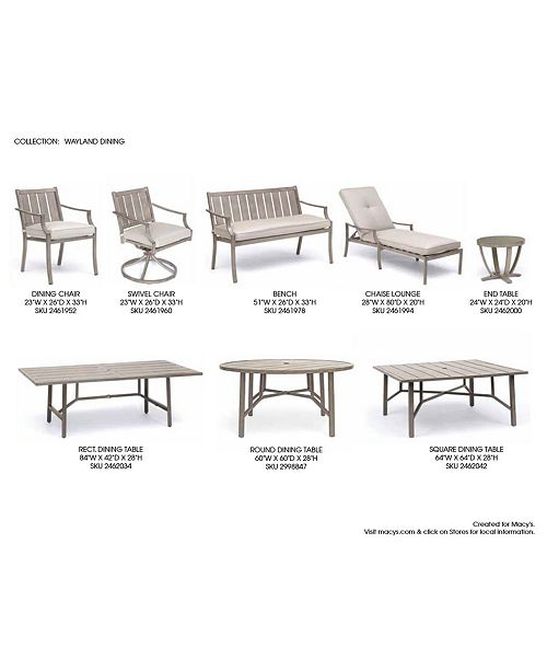 Furniture Wayland Outdoor Dining Collection With Sunbrella