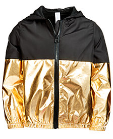 Ideology Big Girls Plus Metallic Colorblocked Zip-Up Hooded Jacket, Created for Macy's