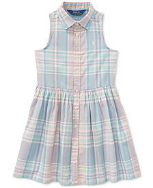 Polo Ralph Lauren Fit & Flare Cotton Shirtdress, Toddler Girls