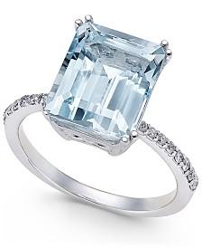 EFFY® Aquarius Aquamarine (3-3/4 ct. t.w.) and Diamond (1/6 ct. t.w.) Ring in 14k White Gold