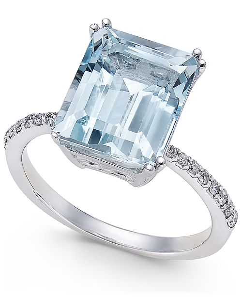 EFFY Collection EFFY® Aquarius Aquamarine (3-3/4 ct. t.w.) and Diamond (1/6 ct. t.w.) Ring in 14k White Gold