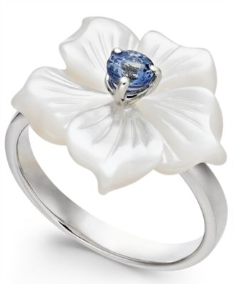 Mother-of-Pearl & Tanzanite (1/4 ct. t.w.) Flower Statement Ring in Sterling Silver