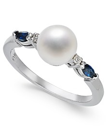 Cultured Freshwater Pearl (7mm), Sapphire (1/4 ct. t.w.) & Diamond Accent Ring in 14k White Gold