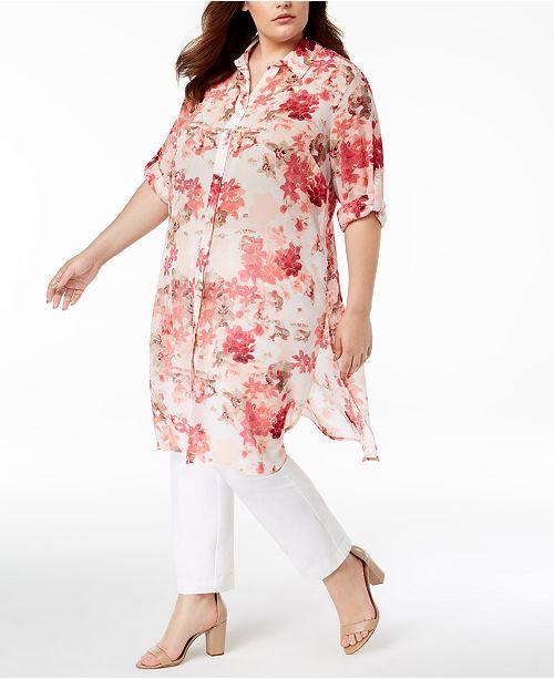 b2df9ea1390 ... Calvin Klein Plus Size Floral-Print Tunic Shirt