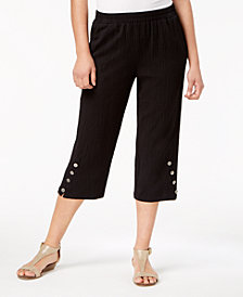 JM Collection Button-Hem Capri Pants, Created for Macy's