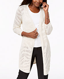 JM Collection 3/4-Sleeve Open-Knit Cardigan, Created for Macy's