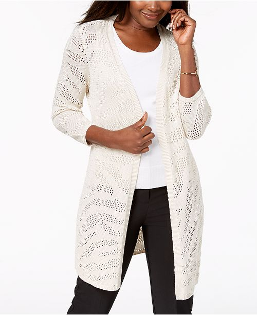 Macy's 3 4 JM Open Knit Collection Created Cardigan Sleeve Flax for AgpgxqS1