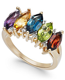 Multi-Gemstone (3-1/8 ct. t.w.) & Diamond Accent Ring in 14k Gold