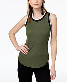 Bar III Ribbed Varsity Tank Top, Created for Macy's