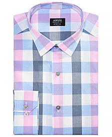 Alfani Men's Regular Fit Stretch Large Gingham Pattern Dress Shirt, Created for Macy's
