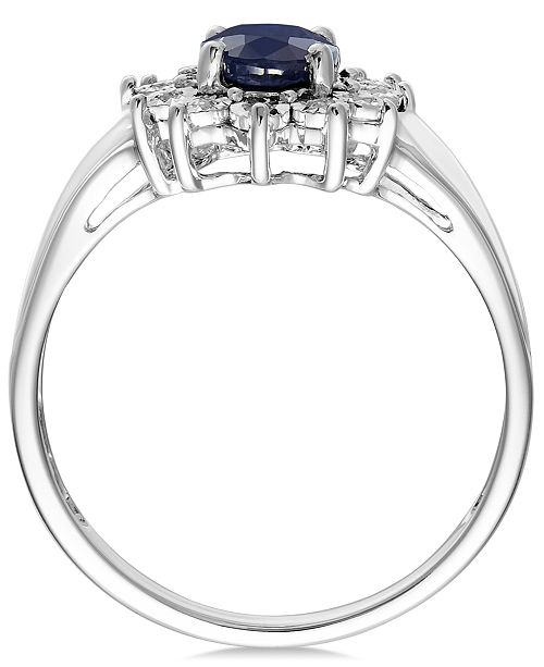 8ef02fc8954f Macy's Sapphire (9/10 ct. t.w.) and Diamond Accent Ring in 10k White ...