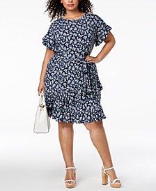 MICHAEL Michael Kors Plus Size Floral-Print Ruffle-Trimmed Dress