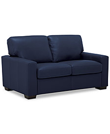 """Ennia 59"""" Leather Loveseat, Created for Macy's"""