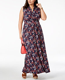 MICHAEL Michael Kors Plus Size Floral-Print Side-Slit Maxi Dress