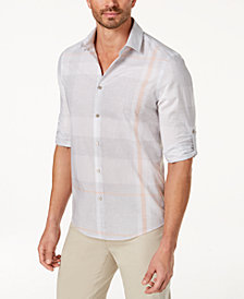 Alfani Men's Heathered Plaid Shirt, Created for Macy's