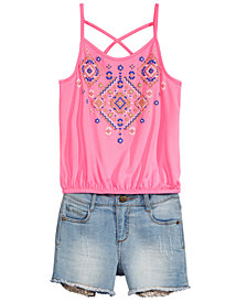 Epic Threads Big Girls Geo-Print Tank Top & Sequin Pocket Shorts, Created for Macy's