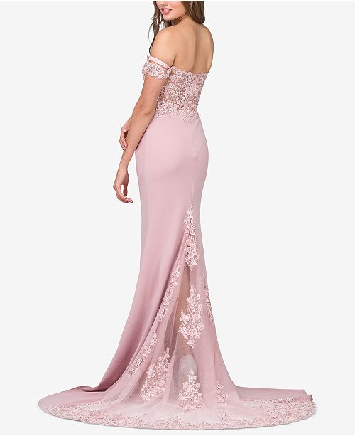 Dancing Pink Embellished Juniors' The Gown Dusty Off Trimmed Queen Lace Shoulder rBrnEvwAqx