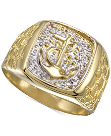 Men's Anchor Ring in 10k Gold & Rhodium-Plate