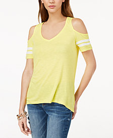 I.N.C. Cold-Shoulder Varsity Top, Created for Macy's