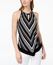I.N.C. Striped Pointed-Hem Top, Created for Macy's