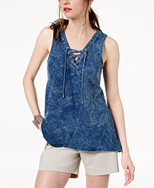 I.N.C. Cotton Lace-Up Tank Top, Created for Macy's