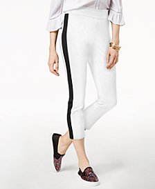 I.N.C. Petite Cropped Striped-Leg Pants, Created for Macy's