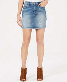Black Daisy Juniors' Natalia Ripped Denim Mini Skirt