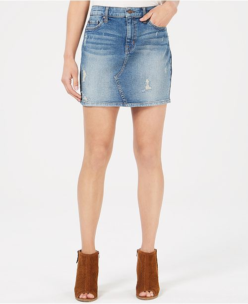 bd9037fedebd Black Daisy Juniors' Natalia Ripped Denim Mini Skirt & Reviews ...
