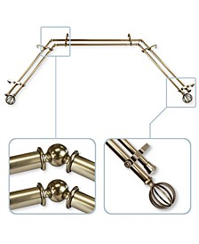 """Cage 13/16"""" Bay Window Double Curtain Rod 78""""-144"""""""