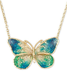 "Ceramic Butterfly Pendant Necklace in 14k Gold, 16"" + 1"" extender"