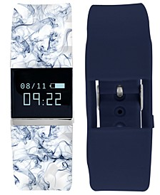iFitness Pulse Women's Blue Print & Navy Silicone Strap Smart Watch 18x20mm