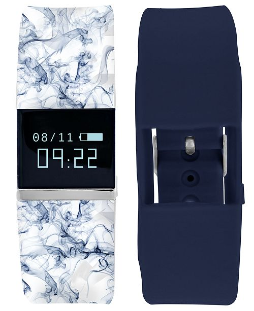 iTouch iFitness Pulse Women's Blue Print & Navy Silicone Strap Smart Watch 18x20mm