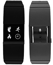 iFitness Men's Pulse Gray & Black Silicone Strap Smart Watch 18x20mm