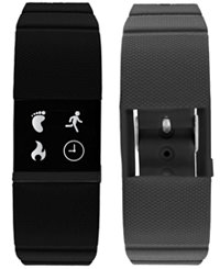 iTouch iFitness Men's Pulse Gray & Black Silicone Strap 18x20mm Smart Watch