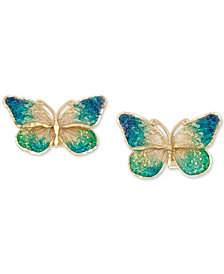Ceramic Butterfly Stud Earrings in 14k Gold