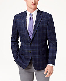 Lauren Ralph Lauren Men's Classic-Fit Ultraflex Stretch Navy/Brown Plaid Wool Sport Coat