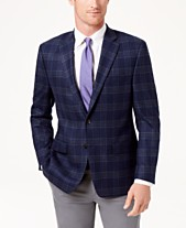 aa437e749b28 Lauren Ralph Lauren Men s Classic-Fit Ultraflex Stretch Navy Brown Plaid  Wool Sport Coat