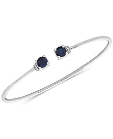 Sapphire (1-1/3 ct. t.w.) and Diamond Accent Cuff Bangle Bracelet in 14K White Gold
