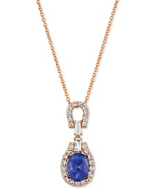 "Le Vian® Strawberry & Nude™ Multi-Gemstone (2 ct. t.w.) & Diamond (1/2 ct. t.w.) 18"" Pendant Necklace in 14k Rose Gold"